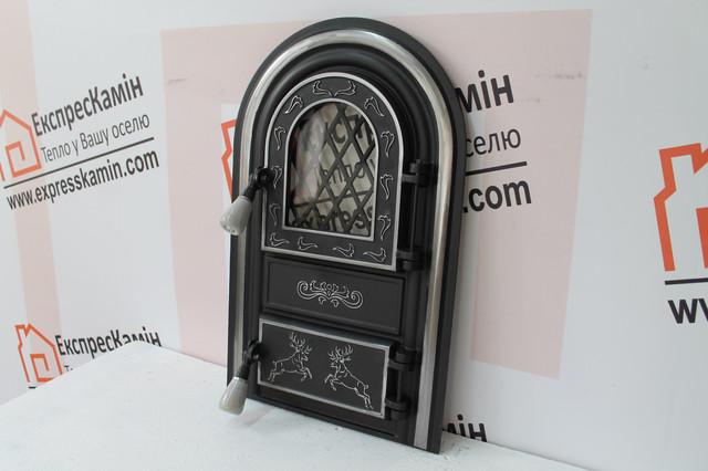 Дверцы печные со стеклом Олени Хром, чугунные дверцы для печи | ЕкспрессКамин