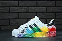 Кроссовки Adidas Superstar реплика (натуральная кожа) р.37,39 белые, фото 1