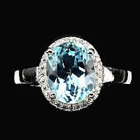 Кольцо с Небесно-голубым Топазом и фианитами, фото 1