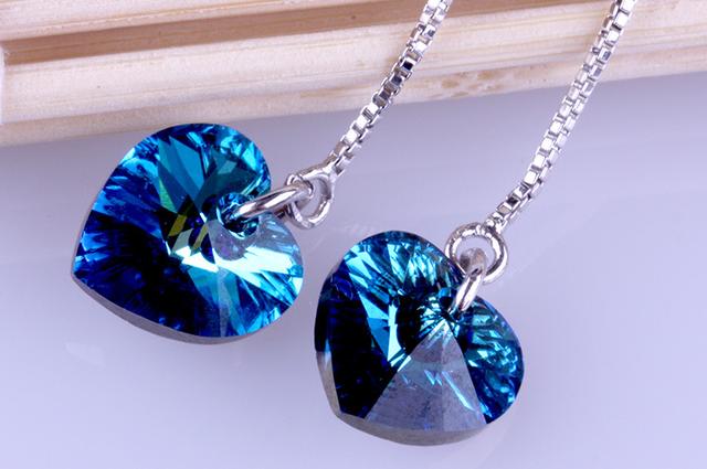серебряные серьги сердце с цирконом