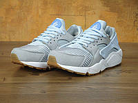 Кроссовки женские Nike Air Huarache реплика ААА+ (натуральная кожа) размер 37 серый/голубой (живые фото), фото 1