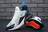 Кроссовки мужские Nike Air Max 270 реплика ААА+ размер 41 белый/синий (живые фото)