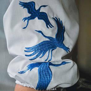 Женская вышиванка белого цвета Лебеди , фото 2