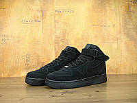 Кроссовки Nike Air Force реплика ААА+ (натуральная замша) размер 40-45 черный