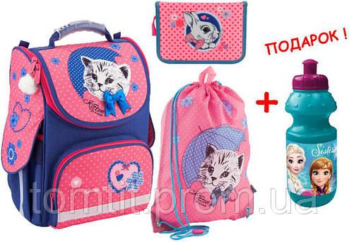 37f9c9804791 Комплект. Рюкзак школьный каркасный Pretty kitten K18-501S-7 + пенал + сумка