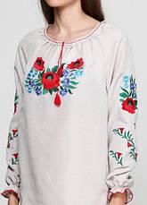 Женская льняная вышиванка Васильковый цвет, фото 2