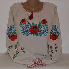 Женская льняная вышиванка Васильковый цвет, фото 3