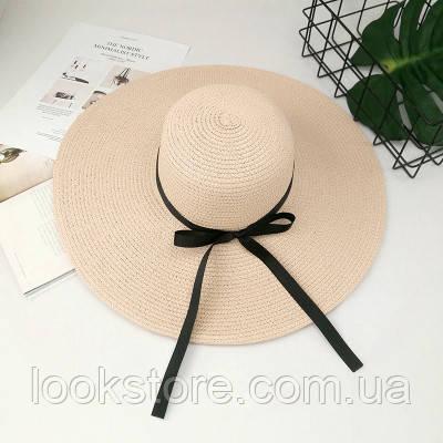 Шляпа женская летняя с широкими полями и лентой розовая (пудровая)