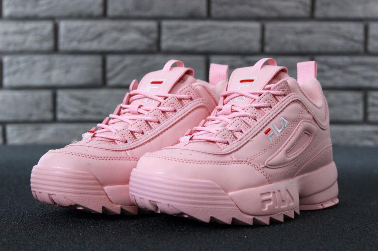 Кроссовки женские Fila Disruptor II реплика ААА+ (натуральная кожа)размер  36-39 розовый (живые фото) 09db984eadef4