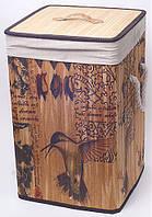 "Корзина для белья ""Bamboo Tube"" квадратная ""Птицы"", складная, высота 55см, фото 1"