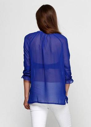 Шифоновая блузка с вышивкой синего цвета, фото 2