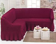 Чехол натяжной на угловой диван MILANO малиновый  и еще 15 расцветок