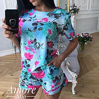 Женский принтованный костюм с шортами, в расцветках. ЛУ-8-0618, фото 1