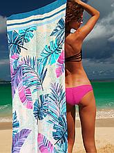 Полотенце пляжное голубые банановые листья 150*75 см банное Турция Lotus