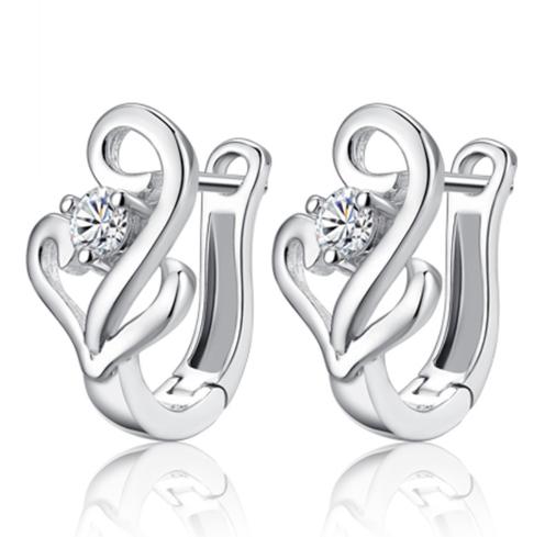 Серебряные серьги Лебедь стерлинговое серебро 925 пробы (код 0009)