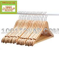 Вешалка (тремпель, плечики) для одежды с нарезами, деревянная, 10 шт., 3-ий сорт