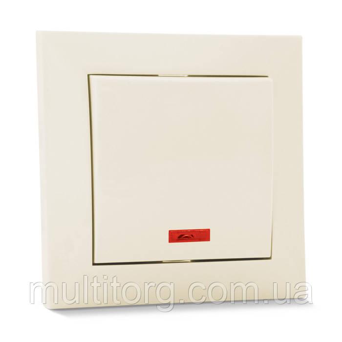 Выключатель SVEN SE-60011L-C одинарный с индикатором кремовый