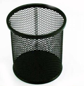 Стакан для ручек металл круглый черный