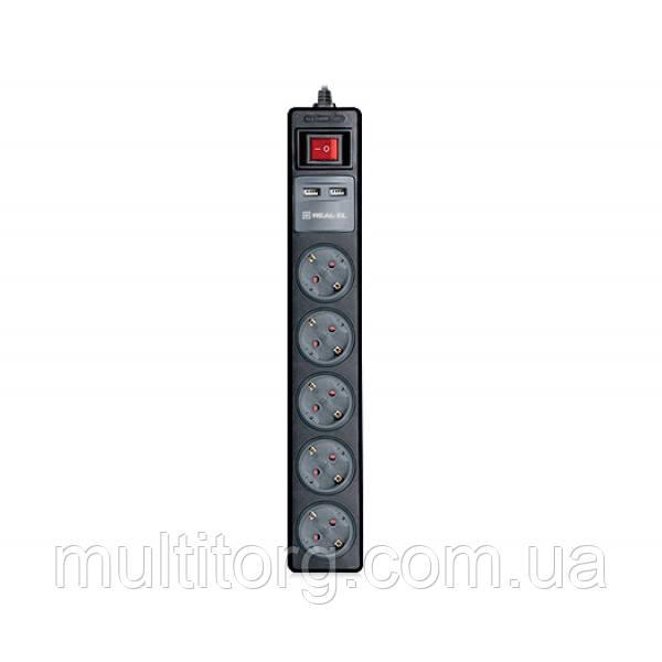 Удлинитель REAL-EL RS-5 USB CHARGE 1.8m черный