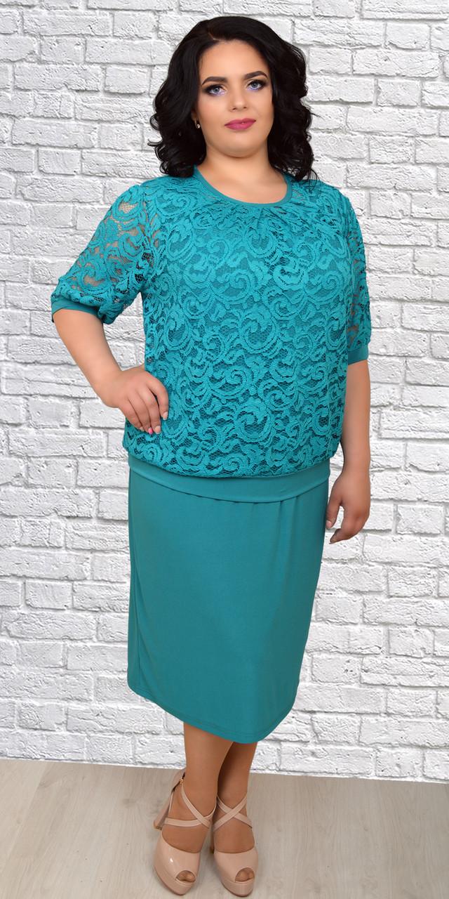 Женское платье с кружевом больших размеров, 58,60,62,64