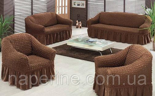 Чехол на 3-х местный диван и чехол на 2-х местный диван + 2 кресла шоколадный