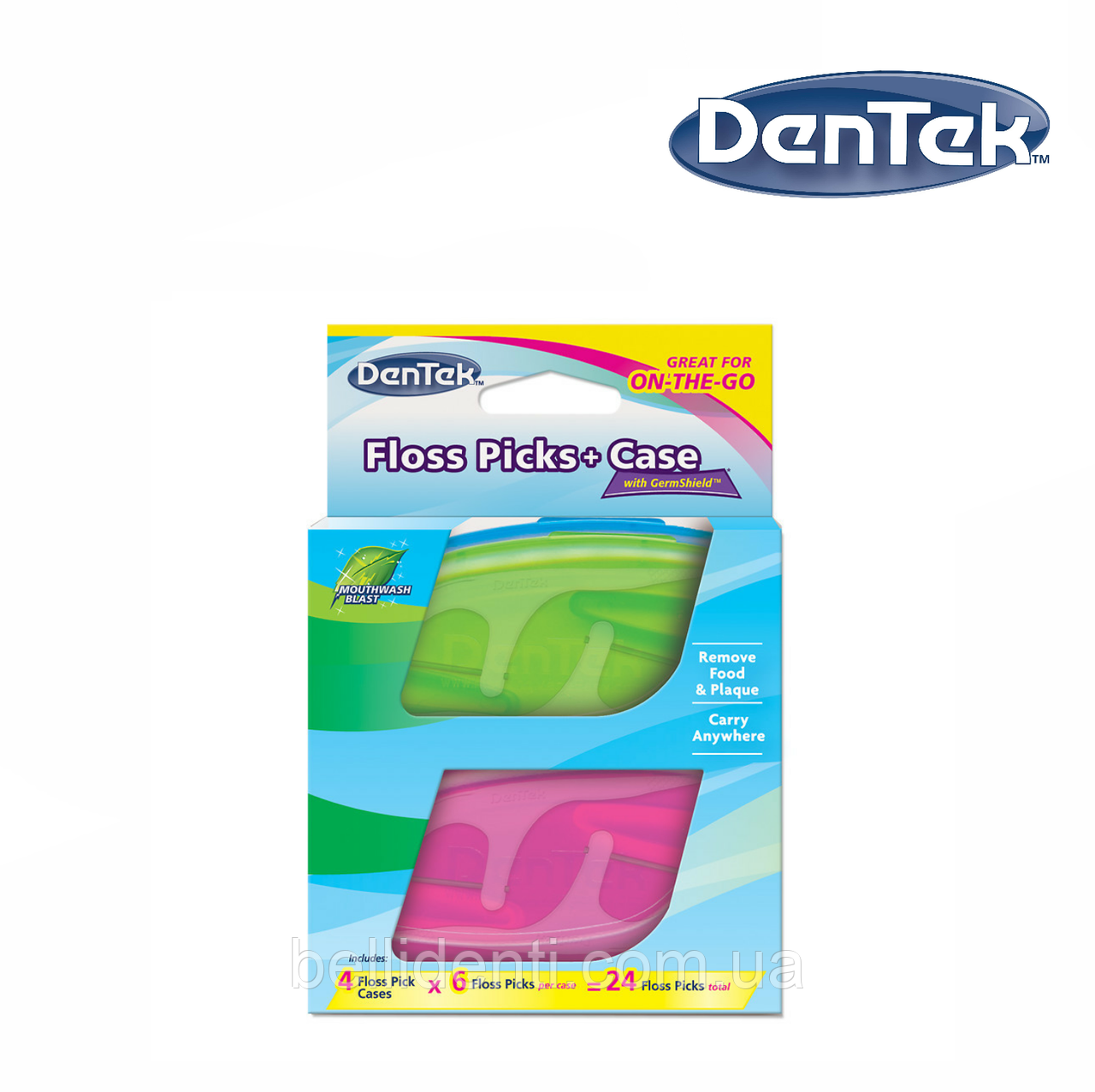 DenTek Флосс-зубочистки + Дорожный футляр: 4 футляра, 24 зубочистки