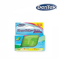 DenTek Флосс-зубочистки + Дорожный футляр: 2 футляра, 12 зубочисток, фото 1