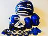 Набор: роликовые коньки раздвижные р. 28-33  синие, защита, шлем, сумка
