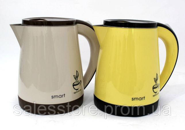 Электрический чайник термос желтый Smart (Смарт) HHB-1209 с колбой