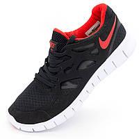 Кроссовки для бега Nike Free Run 2 Найк Фри Ран, черные с красным р.(40, 42, 43, 44, 45)