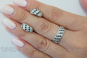 Серебряный набор - кольцо и серьги