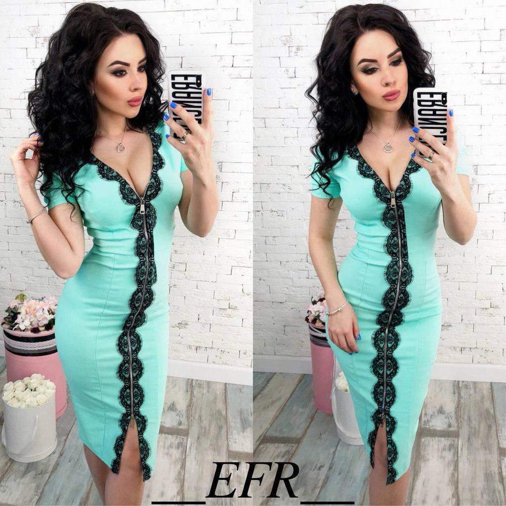 Приталенное платье на молнии с коротким рукавом украшено кружевом   / 6 цветов арт 5966-204
