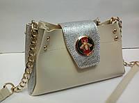 Женская мини-сумка Gucci (Гуччи), бежевая с серебром, фото 1