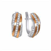 Серебряные серьги с золотой вставкой и фианитами Алея 000012894