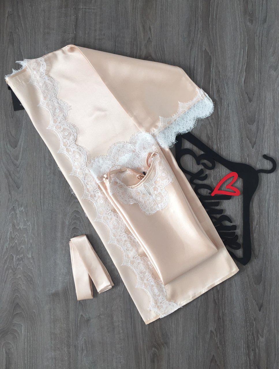 Атласный комплект халат и пеньюар женский с белым кружевом