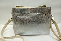 Женская мини-сумка, бежевая с серебром, фото 1