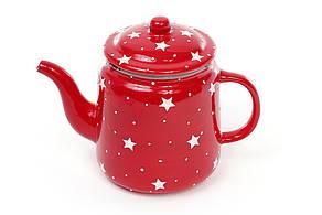 Чайник керамический 1.35л Звезды, цвет - красный 795-305