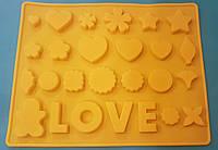 """Форма силиконовая для декора и конфет """"Любовное ассорти"""""""