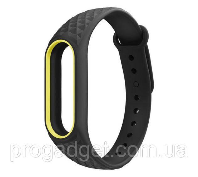 Силиконовый TPU браслет ремешок для Xiaomi Mi Band 2 черный с белым желтым контуром
