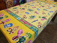 Ткань для пошива постельного белья бязь голд Фиксики на желтом, фото 1