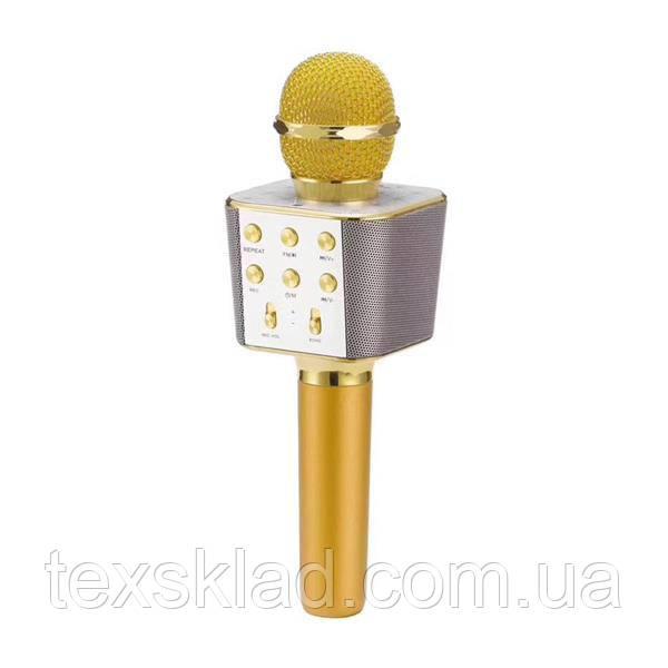 Микрофон для караоке KTV WS-1688 Gold (USB/Bluetooth/AUX) - 5 видов голоса!
