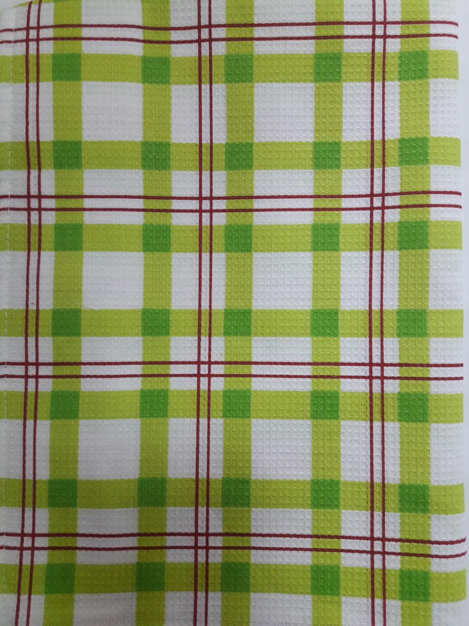 Полотенце вафельное КЛЕТКА Зеленая