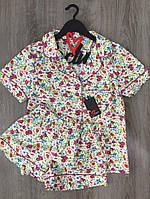 Рубашка и шортики хлопок, пижама с рисунком.