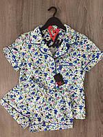 Пижама рубашка и шорты с рисунком цветы, хлопок.