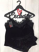 Черный велюровый комплект майка и шорты, женские пижамы.