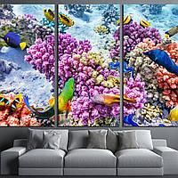 Картина -  Прекрасный и красивый подводный мир с кораллами и тропическими рыбами