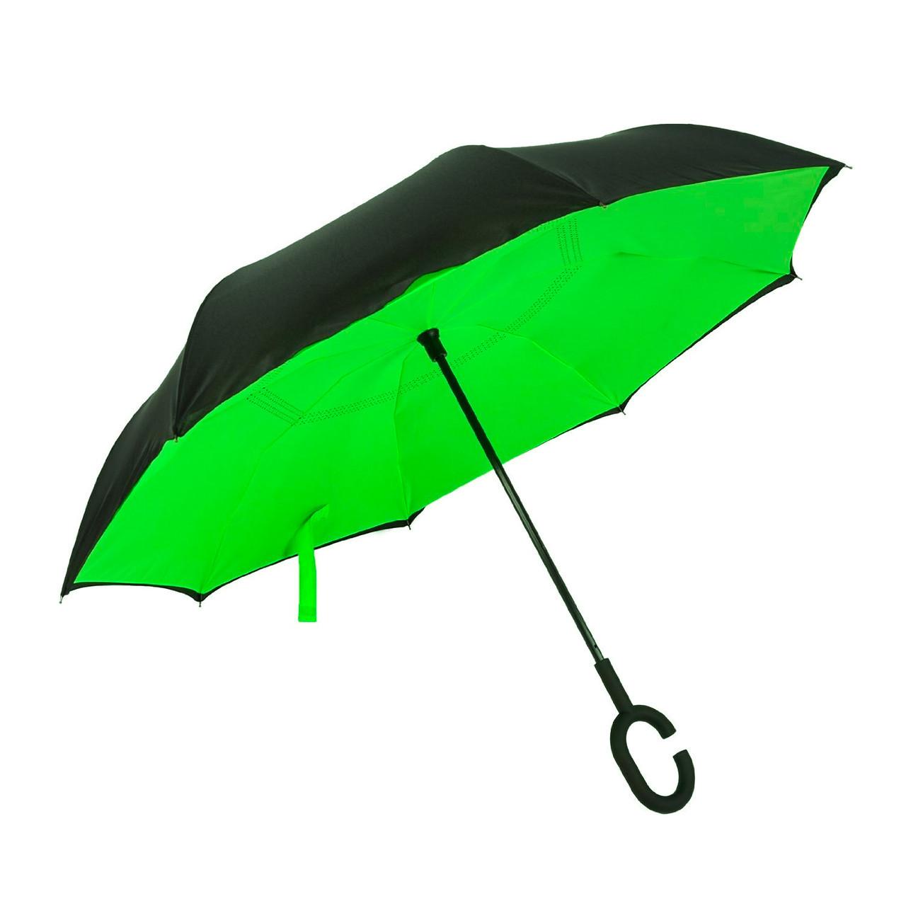 Зонт обратного сложения Rainscence Антиветер №6 Черно-зеленый (06ZR201806)