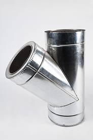 Тройник для дымохода 90 и 45 градусов утепленный, нержавеющая сталь в оцинкованном кожухе