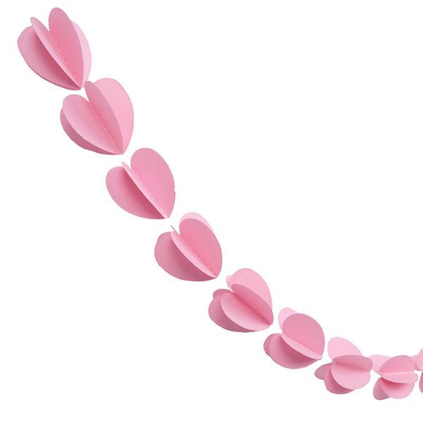Гирлянда бумажная 3D Сердечки (розовый)