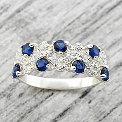 """Серебряное кольцо """"Венок"""", вставка синие фианиты, вес 2.37 г, размер 19.5"""